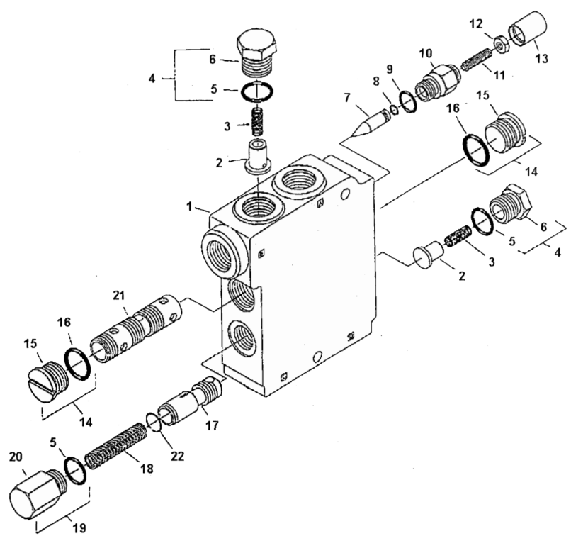 the next picture is an internal schematic of what is going on in this valve  block  the two ports on the top (a and b) are plumbed in series with the  main